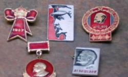 I have 5 different vintage Lenin Communist pin badges that came from the Ukraine & the round one with the blue inside says 1870-1970 & was for the 1970 Ukranian Amateur arts Festival. I also have another 3 pin badges & the first is marked made in the USSR
