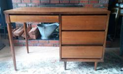 """Beautiful midcentury modern desk. Well loved. Refinish or use as is! Add a touch of classic Swedish style to your home! Dimensions: 22 1/4"""" wide, 45 7/8"""" long, 30 3/4"""" high."""