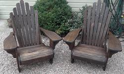 This vintage oak pair of Adirondack chairs were custom made in Athens, Ontario in the 80's. They were built to last a lifetime and are in excellent condition. If you want to purchase a single chair the cost is $160. For the pair: $300. Please visit our