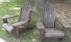 This vintage pair of Adirondack chairs were custom made in Athens, Ontario in solid oak. They were built to last a lifetime and are in excellent condition. If you want to purchase a single chair the cost is $160. For the pair: $300.