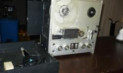 Portable stereo AIWA model TP-1001 reel to reel recorder with a reel of tape and microphone. Good working order.