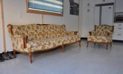 French Provincial sofa and chair from the 1960's. Absolutely mint condition, non smoker, solid maple trim pieces.