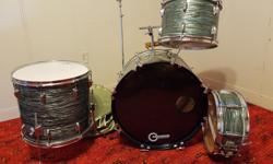 Vintage 1960s/70s MIJ Star drum set. This thing is in fricking fantastic condition! Chrome is perfect, wrap is perfect - not sure how this kit was so well-preserved, but it is. Sweet green swirl finish on here, too. And brand new skins on ALL the drums