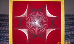 Vintage String Art on velvet... Wall hanging Decor... 24 x 21 frame