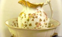 """A.J. Wilkinson England, royal semi porcelain wash basin and pitcher, """"PARK"""" pattern, lovely detail, beautiful yellow, pink and gold flowers. Very nice condition, no chips, or cracks. Still beautiful after all these years $75, Alliston area."""