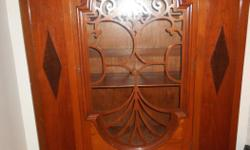 Beautiful Canadian made china cabinet 3 shelves , 2 of them have 3 grooves to stand plates Glass door wood design Tree of Life Very good condition