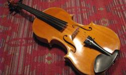 Viola made by Ted Armstrong (Victoria, BC luthier), 1966 ? 16?, warm, rich tone, top condition ? Beautiful two-piece back, highly flamed maple ? Dark yellow-gold varnish, ebony chinrest/pegs ? Extra-light tailpiece with four inline tuners ? Top bout: