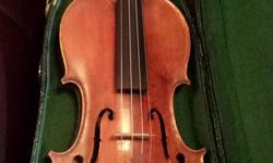 Full size violin. No maker label. Sounds great, professional setup. Comes with bow and case.