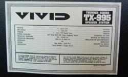 Pair of Vivid TX-995 Speakers