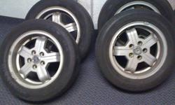I am selling a set of 4 Volvo Rims. They are 15 inch 195 60 R 15. The tires are garbage but rims are good. They have no leaks, not bent, and all of them have centre caps.