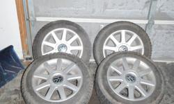"""4 16"""" VW rims with 4 Marangoni winter tires. Size: 205/55 R16. Used only 2 months. Asking $750.00 for all. VW Jetta was sold. Please email or call 705 740 3447 anytime."""