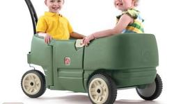 Step 2 Wagon for Two Plus This is the perfect classic wagon for toddlers and preschoolers to ride in! The innovative and durable design of this kid's riding toy provides children with comfort and room to lounge. Enjoy spending time with your kids outside