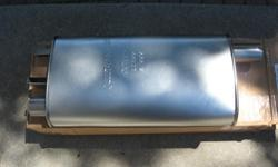One new Walker made in USA stainless steel muffler. Fits many older vehicles. 65-91 Buick, Chevrolet, Ford, Lincoln, Mercury, Oldsmobile and Pontiac. Asking $ 55.00 ( 125.00 at the store. ) Muffler is a quiet flow type made from stainless steel which
