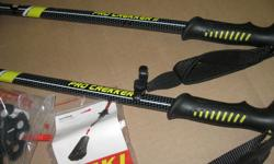 Almost new (used just once) walking poles.. Elderly person tried them unsuccessfully. Comes with extra ends for sand or snow. Telescopic.They are essentially new except for that one use.