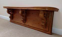 EARLY HONEY COLOURED WALL MOUNTED PINE SHELF IDEAL FOR A KITCHEN OR DISPLAYING YOUR TREASURES 43 INCHES WIDE 13 HIGH 8 INCHES DEEP BUYER TO COLLECT ASKING $275