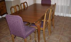 Antique walnut dining room set,burled walnut buffet,queen ann legs solid walnut table with one leaf and 6 chairs.