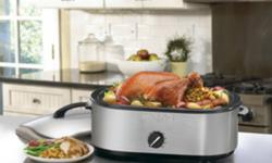 Waring Pro® 18 Qt. Roaster Oven Model # RO18B  Brand new.Never used.Still in the original sealed package       ·  Brushed stainless steel body ·  Will accommodate up to an 18 lb. turkey ·  1440 Watts ·  Removable enamel pan ·  Wire cooking rack included ·