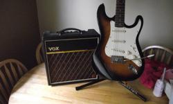 excellent condition stratocaster style tobacco burst finish