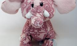 """Dusky pink plush fabric with etched flower pattern is soft and short. Sits 9"""" high. New with sealed code, excellent condition!"""