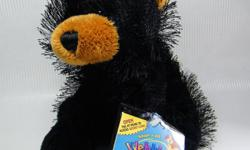 """Webkinz Black Bear with a stitched black nose, tan muzzle and ears. New with unused/Sealed code tag. Measures approx 8"""" long and sits about 7"""" high. Weighted a legs and rump. Please view pics for the visual description. From a smoke free home. Thanks for"""