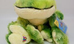 Soft frog with green tie dye plush body; long floppy feet for posing and big black eyes. New with Sealed Code HM162