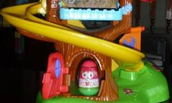 Weeble wobles treehouse, Retails for $35.  Includes hand crank to bring weebles up the slide.  At the bottom of the slide weebles makes noise.  Includes 2 weebles. Perfect for 1yr old and up.