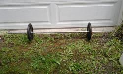 Weider weight bar with collar, 2 -10 steel weights, about 70 lb total.