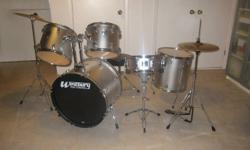 """Excellent condition. Westbury Pro-cussion, 5 piece drum set (silver) and stool. Also includes: Solar by Sabian 18"""" Crash/ride and 14"""" high hat and a Billy Hyde - natural rebound pad. (Selling to trade up for a Christmas so don't mention to son) :o)"""