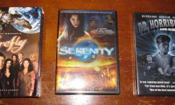 """A great gift for the Joss Whedon fan on your list. $20 for these gently used DVDs in very good condition: """"Firefly"""" 4-disc DVD box set """"Serenity"""" (the Firefly movie) widescreen DVD """"Dr. Horrible's Sing-A-Long Blog"""" DVD (brand new sealed) $20 for this lot,"""