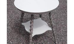 White and Grey Side Table with Spindle Legs. This is a lovely solid wood round occasional table with a top and lower shelf in white chalk paint. The turned spindle legs are in the original speckled grey paint. The top and lower shelves are painted in