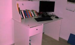 Computer Desk for sale: Solid wood, quality, excellent condition. 1 drawer, top shelf, bottom compartment, space for your PC.47 inches wide, 28 inches deep, 48 inches high.