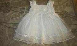 White dress with white flowers-worn 2 or 3 times-this dress would be good for either a baptism or a wedding or whatever you like really Size 24mths PICK UP ONLY