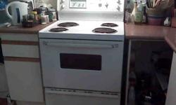 Moffat stove, white, standard width, excellent working condition.  Appox 8yrs old.  Best offer.