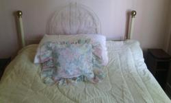 White Metal Headboard with bed frame