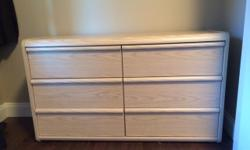 """White wash tone dresser. 6 drawers. slight damage at top Dimensions: 16"""" D x 50"""" w C 29"""" h Price: $100 firm Ph: 250-658-6025"""