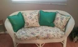 White wicker furniture set. 1 loveseat, 2 chairs, 1 glass table,3 smaller table. Very good condition. Call Kelly @ 403-540-8271 or email