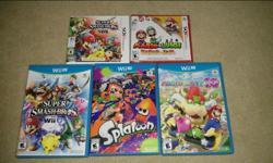 Wii U: Splatoon - $45 Super Smash Bros for Wii U - $40 Mario Party 10 - $35 3DS: Super Smash Bros for 3DS - $30 Mario & Luigi Paper Jam (Sealed) - $40