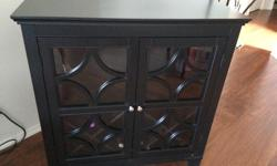 """Espresso coloured wine cabinet, holds 30 bottles of wine with a shelf for glasses or miscall. 3 ft w x 38"""" high x 16 deep"""
