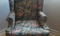 Wingback Chair on Walnut Cabriole Legs in the Classic Queen Anne Style excellent condition, very clean very comfortable non-smoking, no pets home please call me directly if interested. bonnie