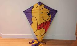 """39"""" x 33"""" with 150"""" long purple and gold tails. Includes string and handle. Excellent condition."""