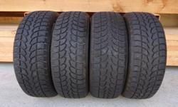 Set of 4 Winter Claw Extreme Grip Winter Tires in Near New Condition Used Very Little Last Winter Season - approx. 4000 kms Even Wear across all 4 Tires - like New with 93% Tread 205/55/R16 91T M+S Rated for Snow with Mountain & Snowflake Symbol Off an