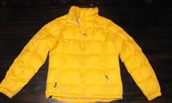Size med. Columbia down filled jacket has no tears and is gently used. School bus yellow in color, stands out in the snow! Two zippered exterior pockets, and two drawstring elastics at waist for protection from snow. If I hadn't bought a new jacket i