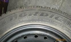4 winter tires - directional goodyear nordic winter tires with rims approx. 2 years old with about 25,000 km's on the tire and rims tire size: P215/60R15 with 5 bolt rim tread depth: 8/32 These tires came off of a 2003 oldsmobile alero Please call anytime