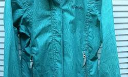 "In MINT condition, women's aqua green blue Bench BBQ lightweight zip up active jacket windbreaker. Wind and rain resistant and has a roll out hood hidden in collar. Size - L Check out my other items for sale by clicking on the ""View Seller's List"" link"