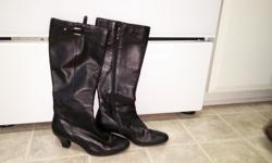 Women's Black Leather Upper Knee High Boots SLIGHTLY WORN Size 6 1/2 Asking Price $50 For Immediate Response Text/Call: Carol 613-204-9904 Email= dinelle.ch@gmail.com