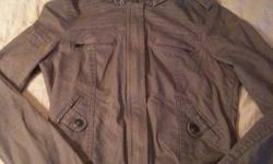 Womens grey Garage jacket. Detachable hood. Worn 2-3 times. Too small.   Size small (fits like an x-small)   Sorry for the dark photos.   *Please check out my other ads!