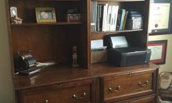 """Eagle brand by Ashley 2 wall units, bottoms are filing cabinet tops are bookcase. The filing cabinet base is 30"""" wide x 22"""" depth x30"""" high and the bookcase on top is46""""x 13"""" wide thus making it 76"""" high."""