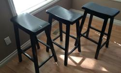 """3 sturdy wooden bar stool in good condition 29"""" high. Only selling as a set. Text 2509515572 for inquiries"""