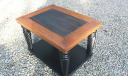 Stylish, well made end table with natural wood top and a black base. Perfect for any decor. See our other ads. Save when you buy the set of three - coffee table, end table and sofa table. ($500) Shawnigan Lake