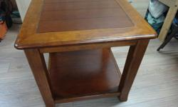 Wooden end table 23 x 24 x 23.5 inches high Excellent condition! Paid over $500 for this piece We renovated the house and the table no longer fits the space.